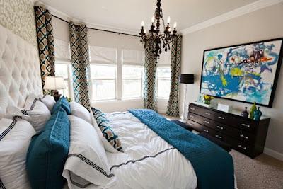 dormitorio gris y turquesa