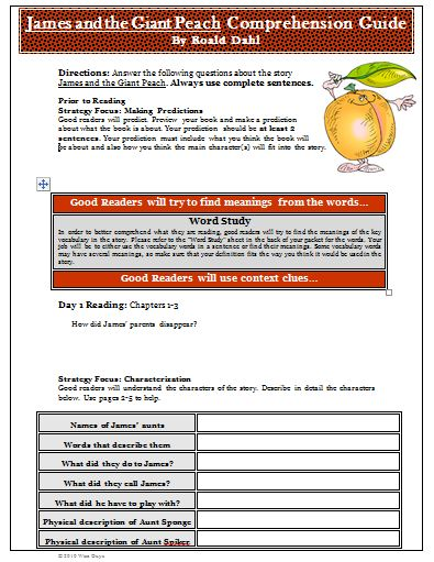 Printables James And The Giant Peach Worksheets james and the giant peach worksheets bloggakuten