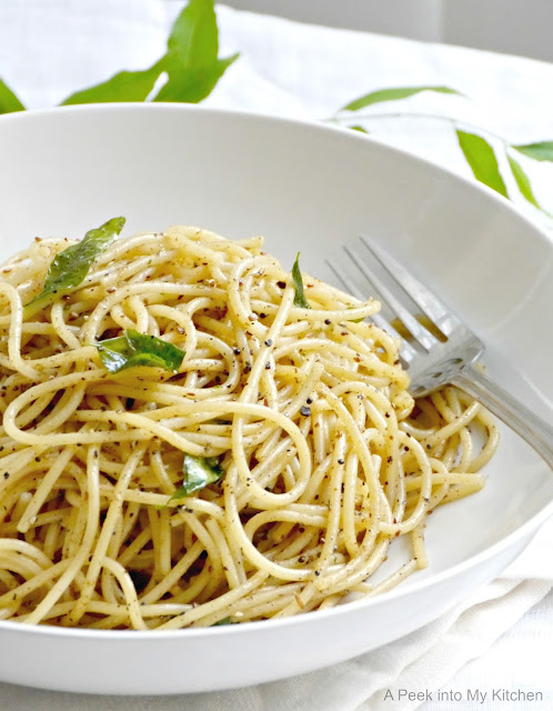 Black Pepper and Curry Leaves Spaghetti Tossed with Clarified Butter (Ghee) ~ Day 11