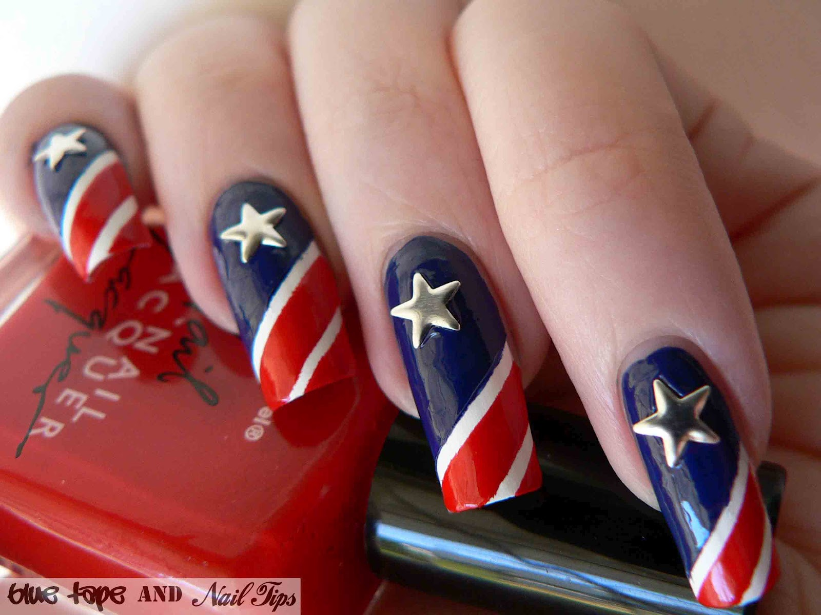 Blue tape and nail tips stars and stripes the stars used for this nail design were nail studs from kiss called nail artist metallic that were purchased at walgreens prinsesfo Gallery