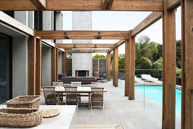 Terrace with wooden structure and swimming pool