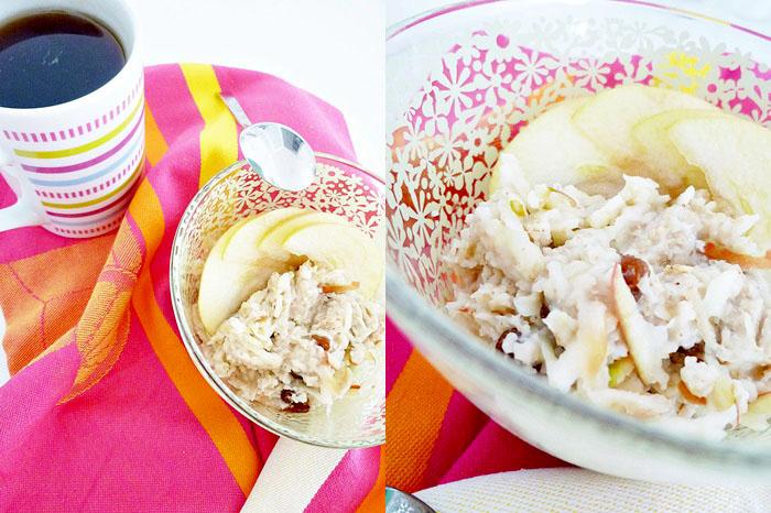 Porridge mit Apfel und Rosinen