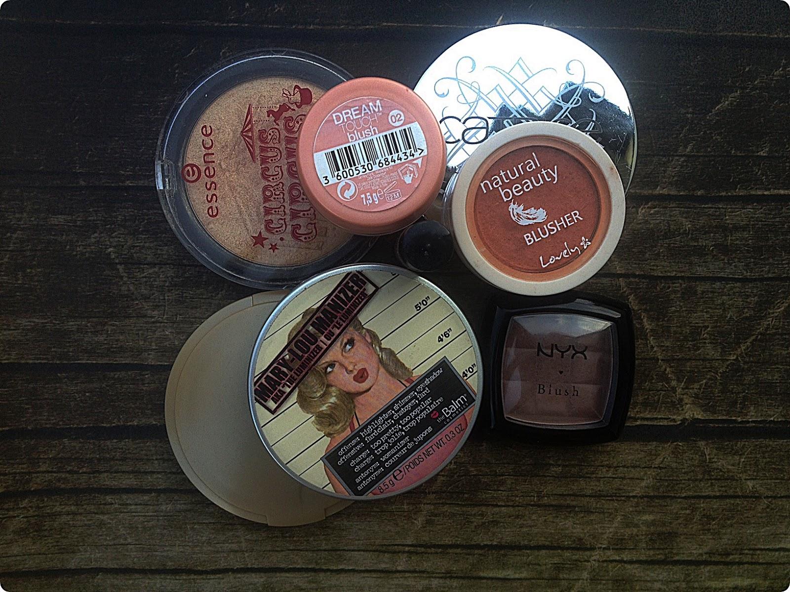Moje kosmetyczne skarby - róże, brązery i rozświetlacze