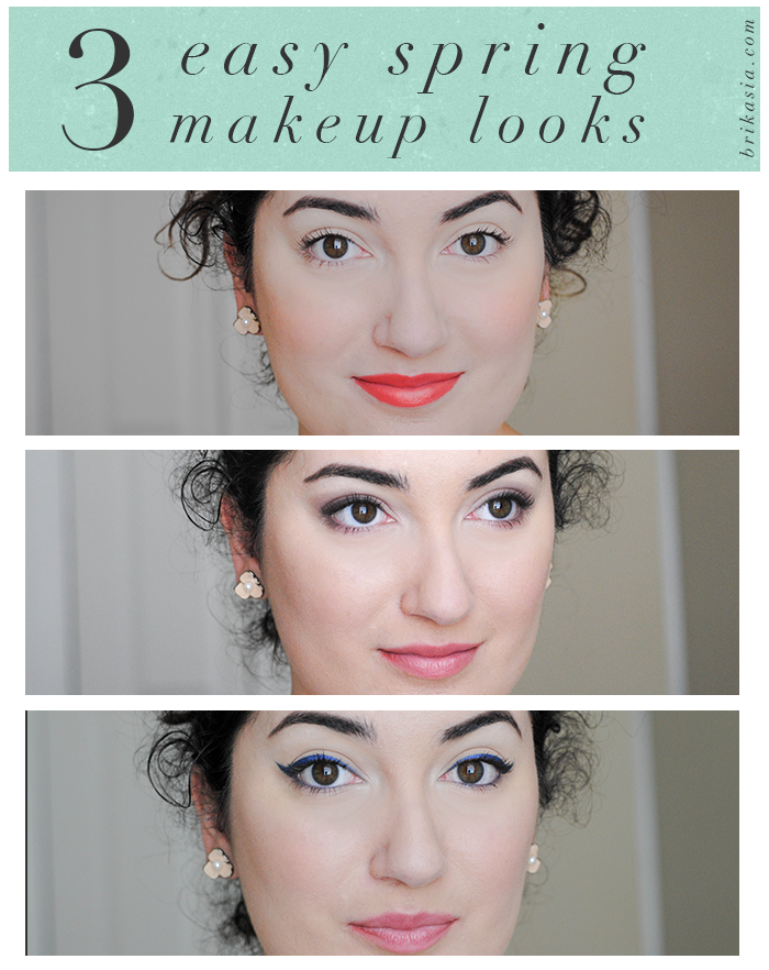 makeup looks for spring, easy spring beauty looks, orange lips trend, pastel eyes, boots no 7, navy blue winged eye liner cateye effect