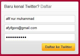 Contoh Cara membuat account baru twitter