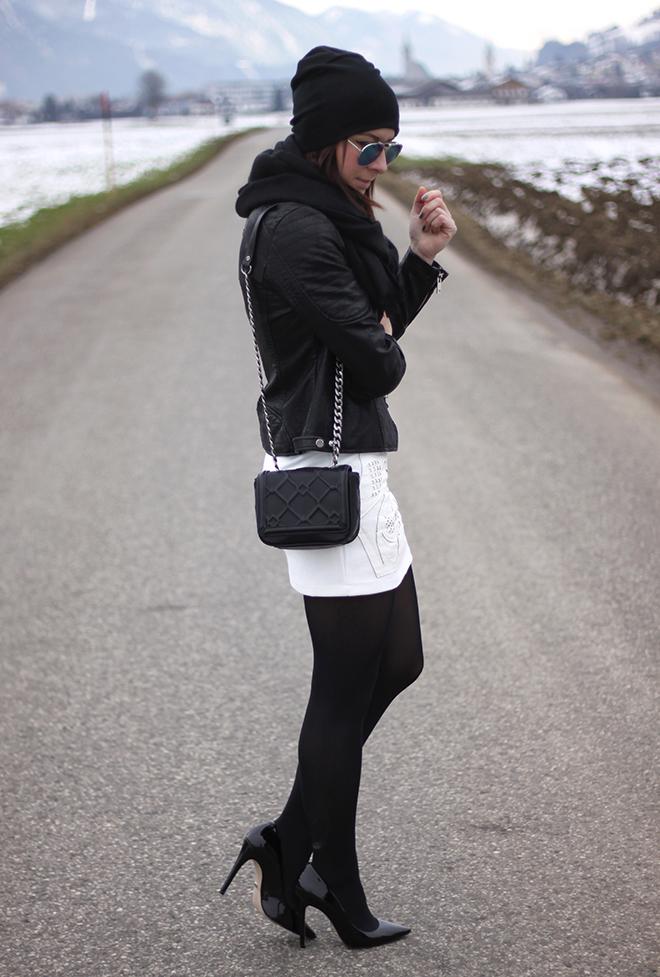 outfit-trend-fashionblogger-fashionunion-rock-leder-stoff-bikerjacke-lederjacke-zara-muetze-beanie-schuhe-pumps-buffalo-sarenza-sonnenbrille-mango-tasche-chainbag