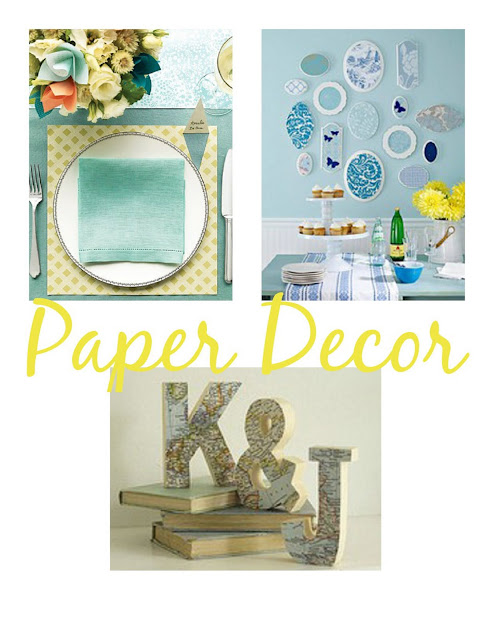 Paper Placemats from Martha Stewart Weddings Wall Plaque Display from