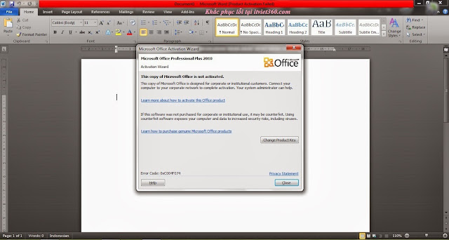 Cách Crack khắc phục lỗi Product activation failed office 2010