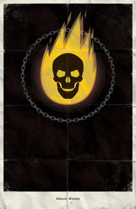 marko manev ilustração poster minimalista super heróis marvel Motoqueiro Fantasma