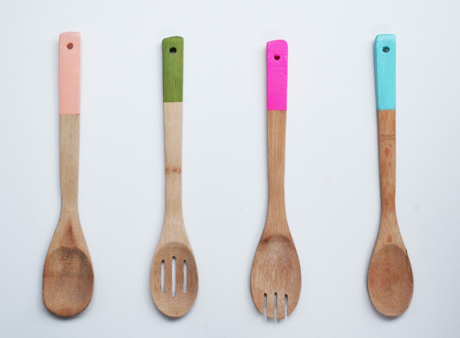 the plumed nest make painted wooden kitchen utensils