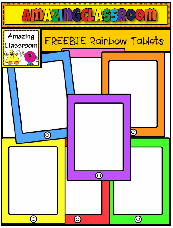 http://www.teacherspayteachers.com/Product/FREE-Rainbow-Tablets-Clip-Art-Set-1106729