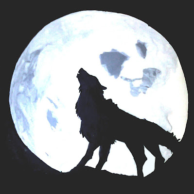 Wolf and The Moon Painting by Maninder Pal Singh