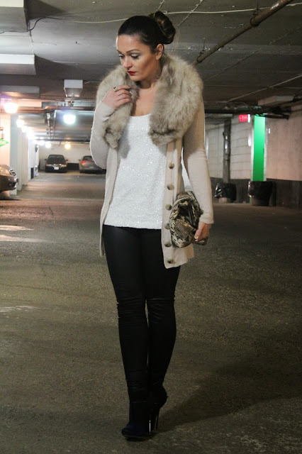Red lips, zara coat, leather sleeve coat, leather leggings, sam edelman, forever 21 leggings, Joe Fresh sequin top, spike heels, urban behavior sweater, fur, fur scarf