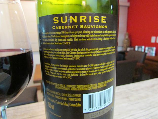vinho, tinto, Cabernet Sauvignon, Sunrise, chileno, Concha y Toro