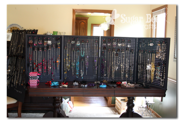Jewelry for five support pegboard carrying display case for How to make a ring display for craft shows
