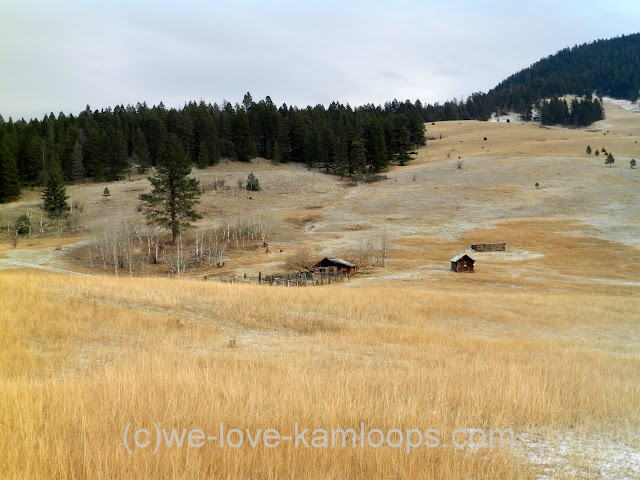 old buildings sit in the fields of a ranch near Pinantan Lake