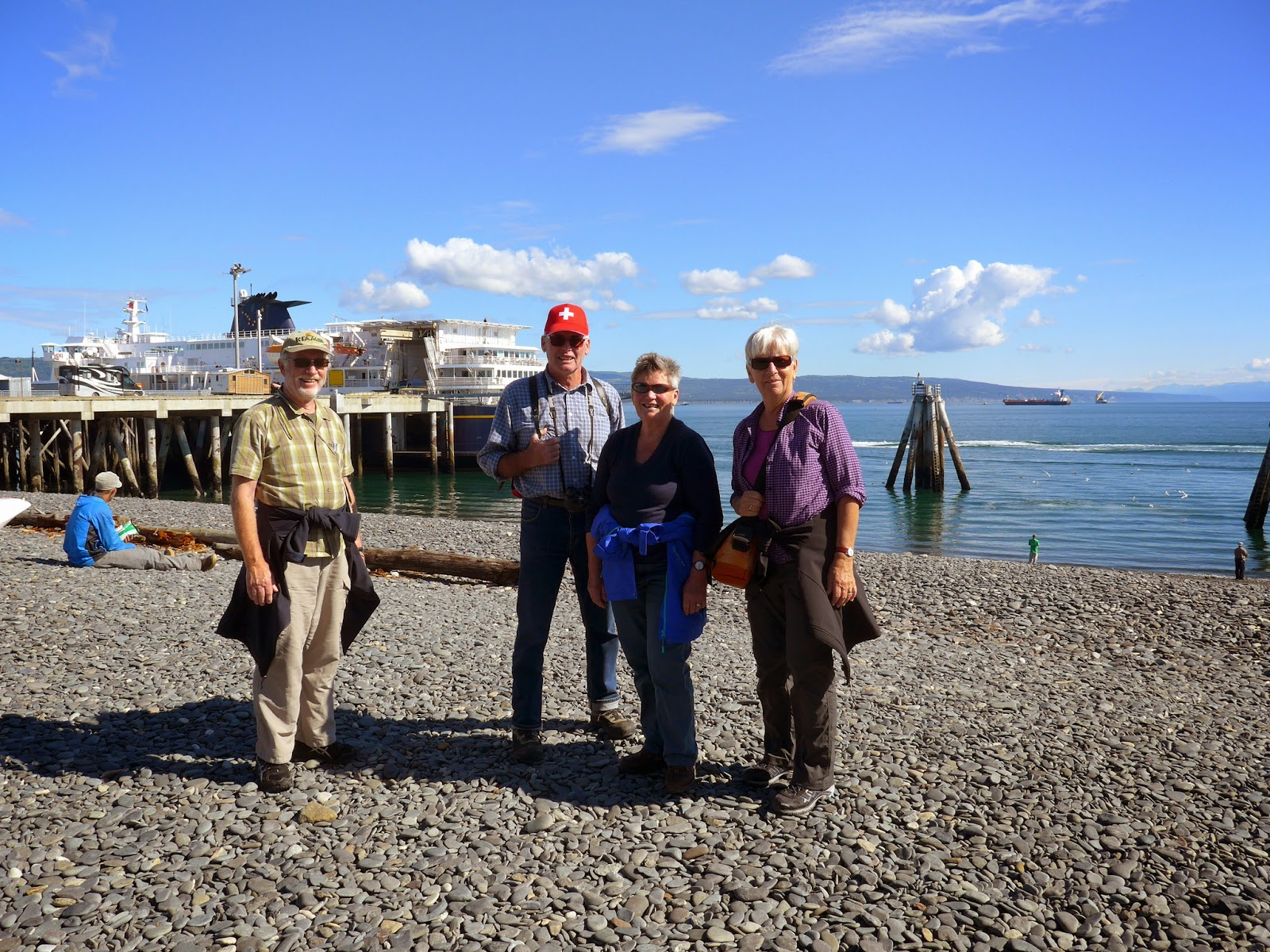 Christian, Hansuli, Lisbeth and Annemarie  by ferry terminal, Homer Spit
