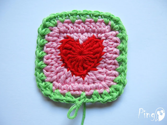 Heart Square - Free Crochet Pattern by Pingo - The Pink Penguin