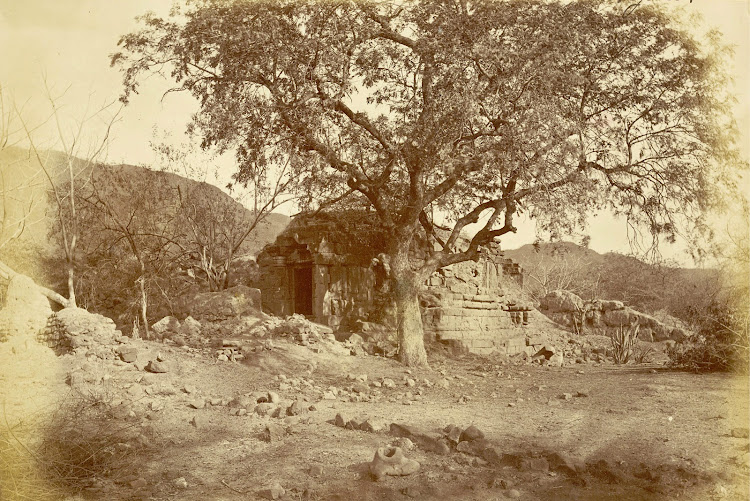 Ruined Jain temple in Patan, Khandesh District, Maharashtra - c1885