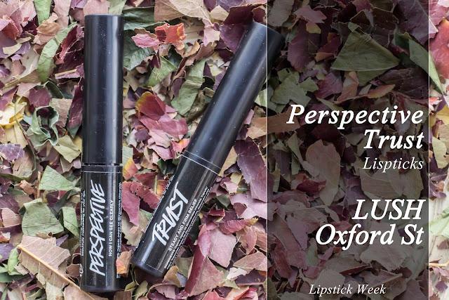 Lipsticks de Lush Oxford St. Perspective y Trust. #mcalipstickweek.
