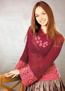 http://www.vyazemsami.ru// Вишневый пуловер с розовой отделкой