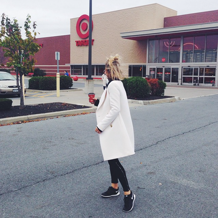fashion over reason travel style, white J.Crew coat, black Nike Free Run sneakers, Zara sip leggings, messy blond hair, VSCO Cam