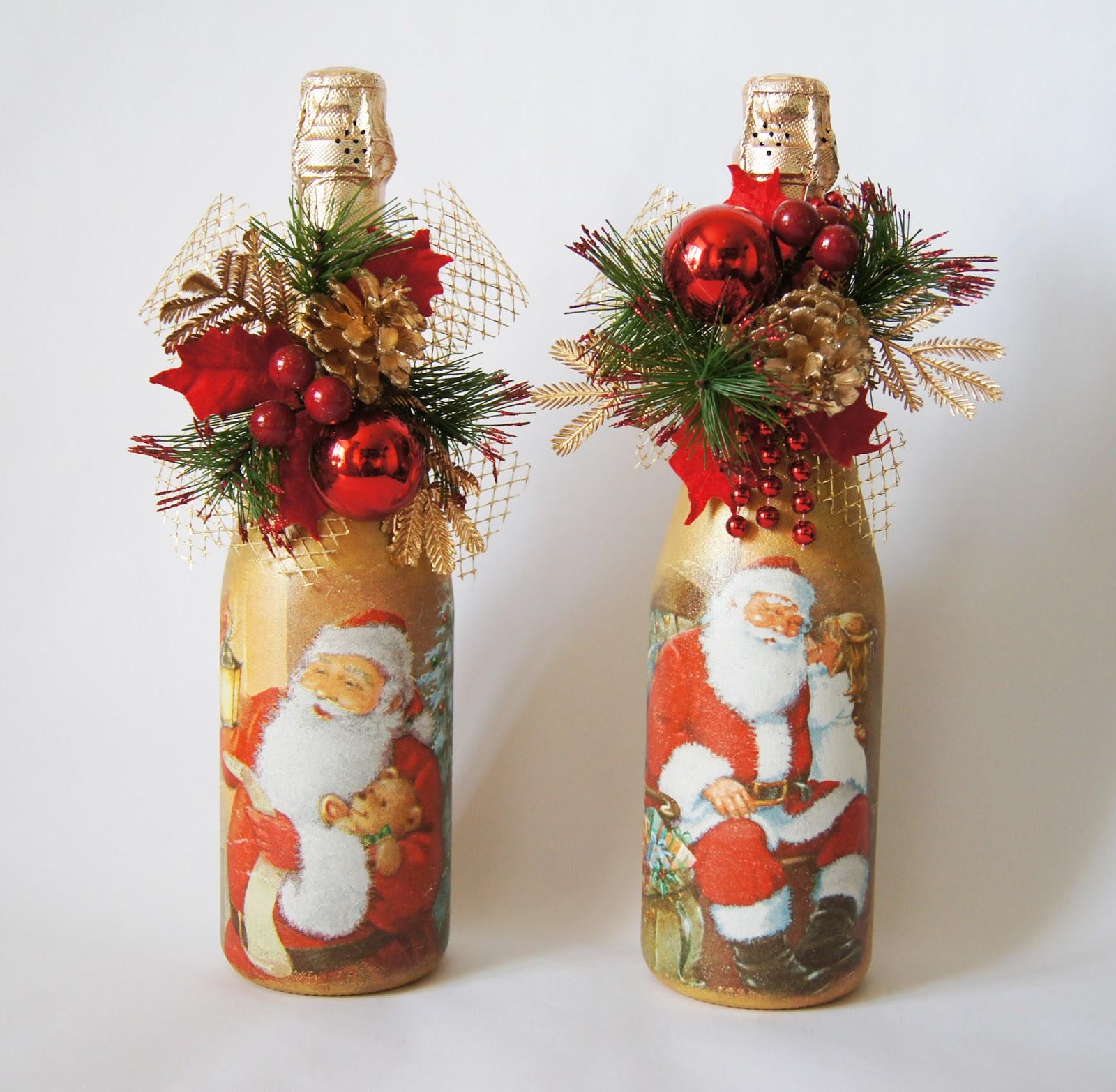 Оформление бутылки на новый год своими руками фото