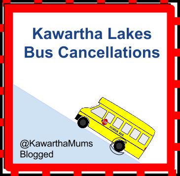 image Kawartha Lakes Mums School Bus Cancellations logo yello school bus driving up icy hill