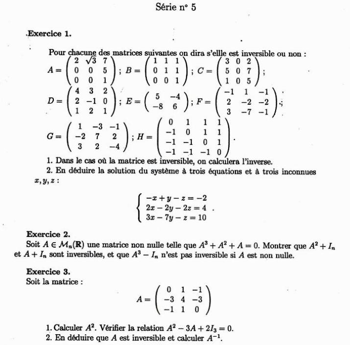 les matrices exercices corrigés pdf smpc