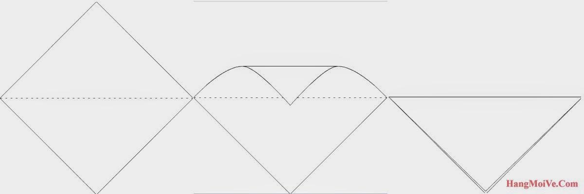 Bước 1: Gấp đôi tờ giấy lại theo chiều từ trên xuống dưới.