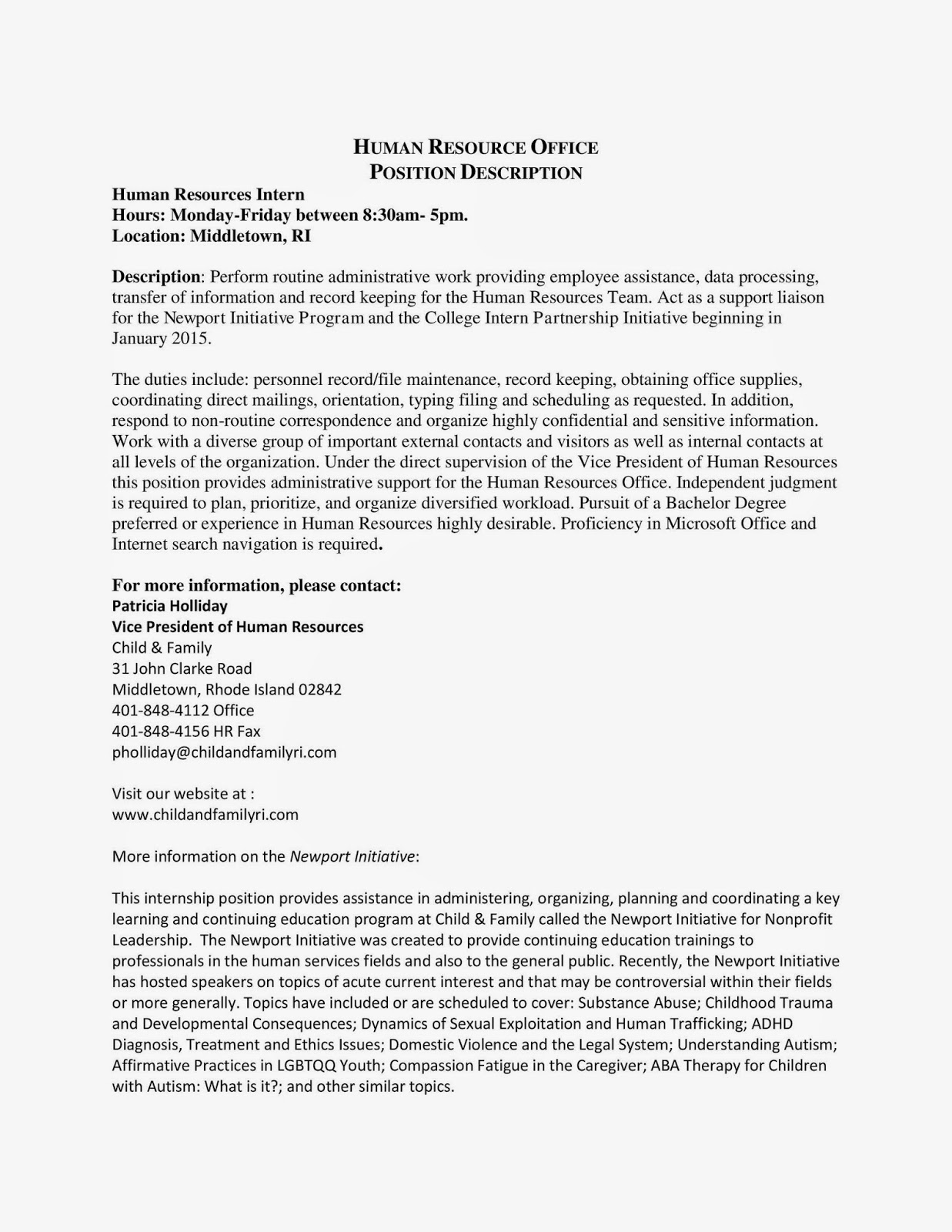 Newport Initiative Program   Human Resources Intern