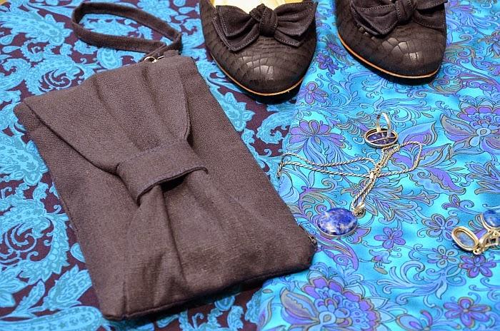 Льняной синий клатч, автор Ольга Граф
