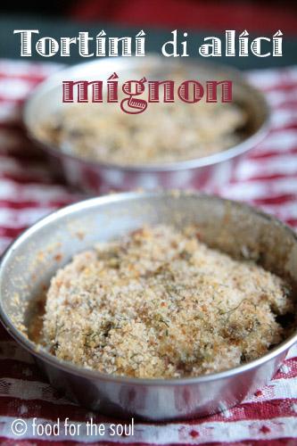 tortini di alici mignon con finocchietto e pecorino