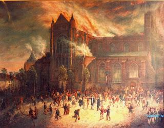 De brand van de Sint-Salvatorskathedraal, die plaatsvond op 19 juli 1839 en op doek vereeuwigd door Antoine Laurent Joostens (1820-1886).