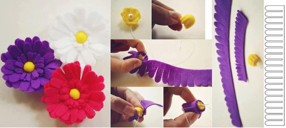 Keçe ile çiçek ve fiyonk yapımı