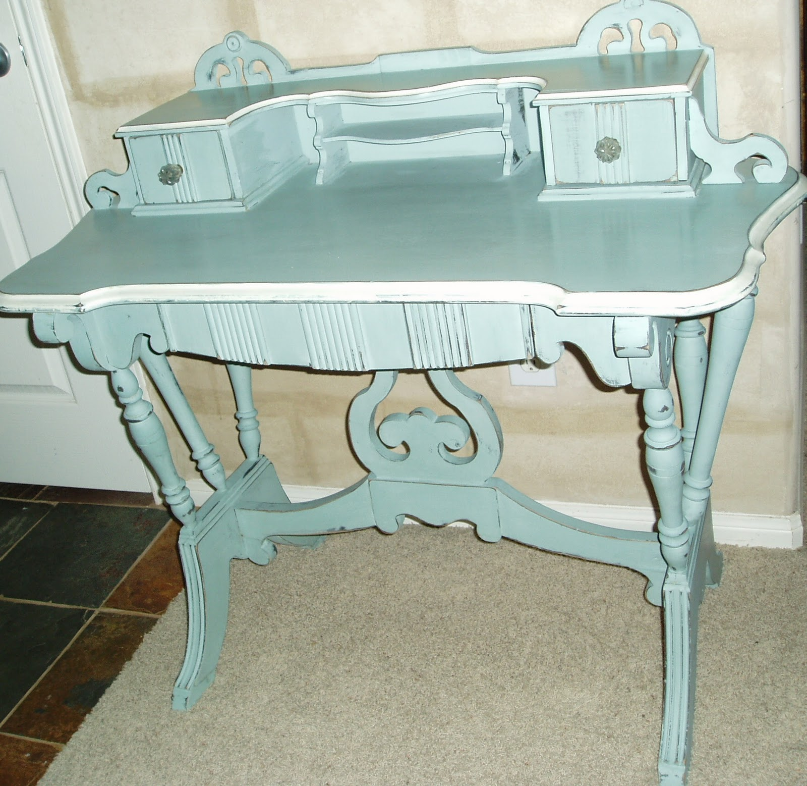 Faux Painting Furniture Antique Writing Desk in French Blue