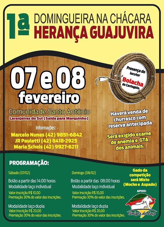 Laranjeiras do Sul:Vem aí a 1ª Domingueira na Chácara Herança Guajuvira na Comunidade Santo Antonio