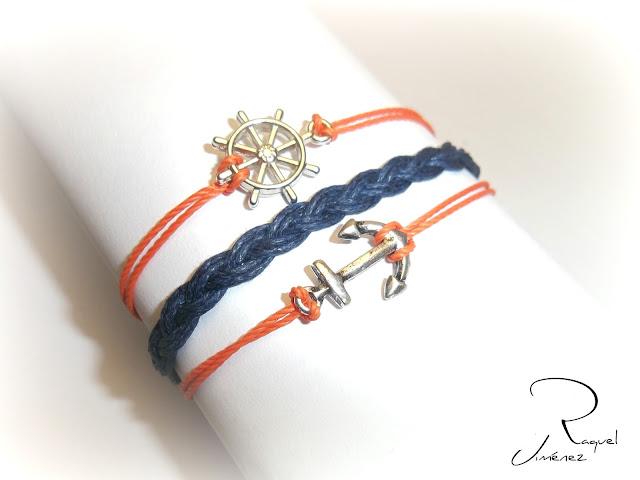 pulsera marinera con ancla y timón