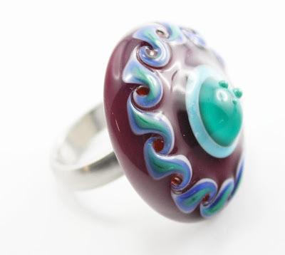 Wechselringaufsatz aus Muranoglas für RingDing Silberwerk Ringe