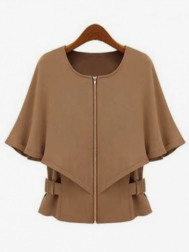 Women's Cape Shaped Round Collar Trench Coat