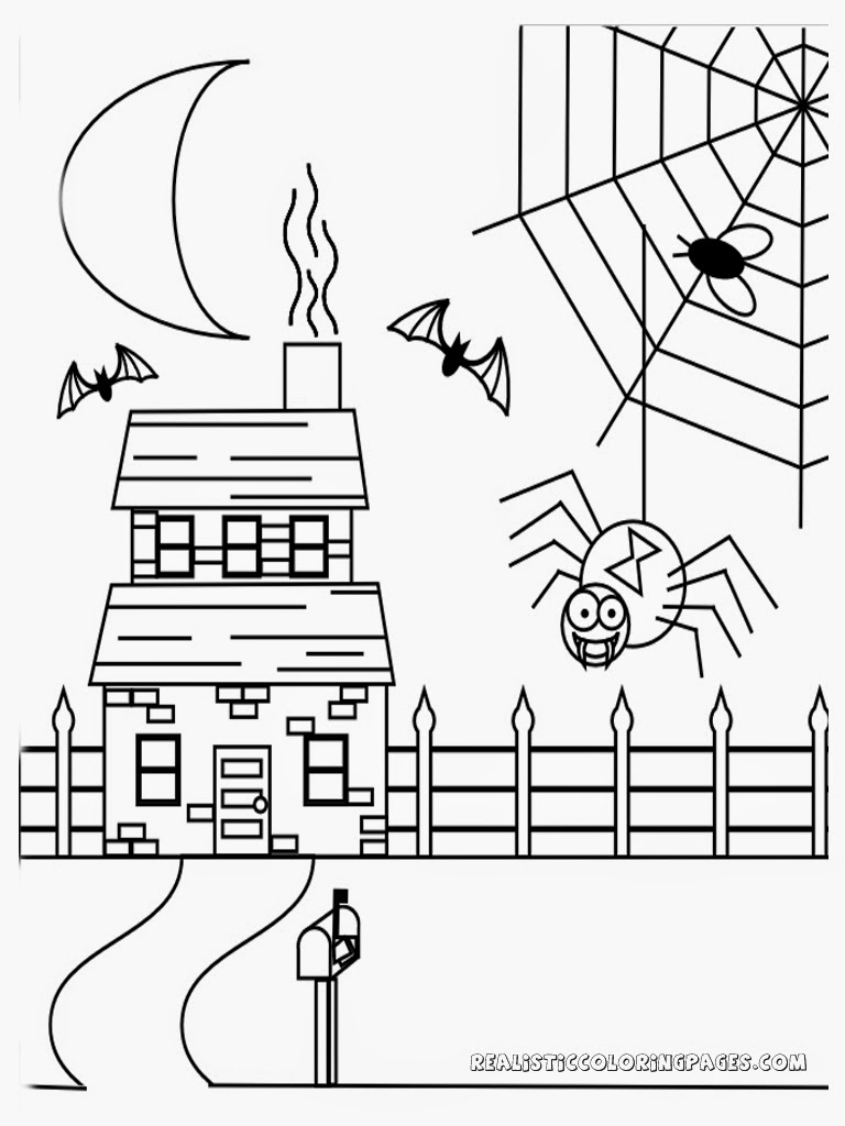 Free Coloring Pages Of Haunted House