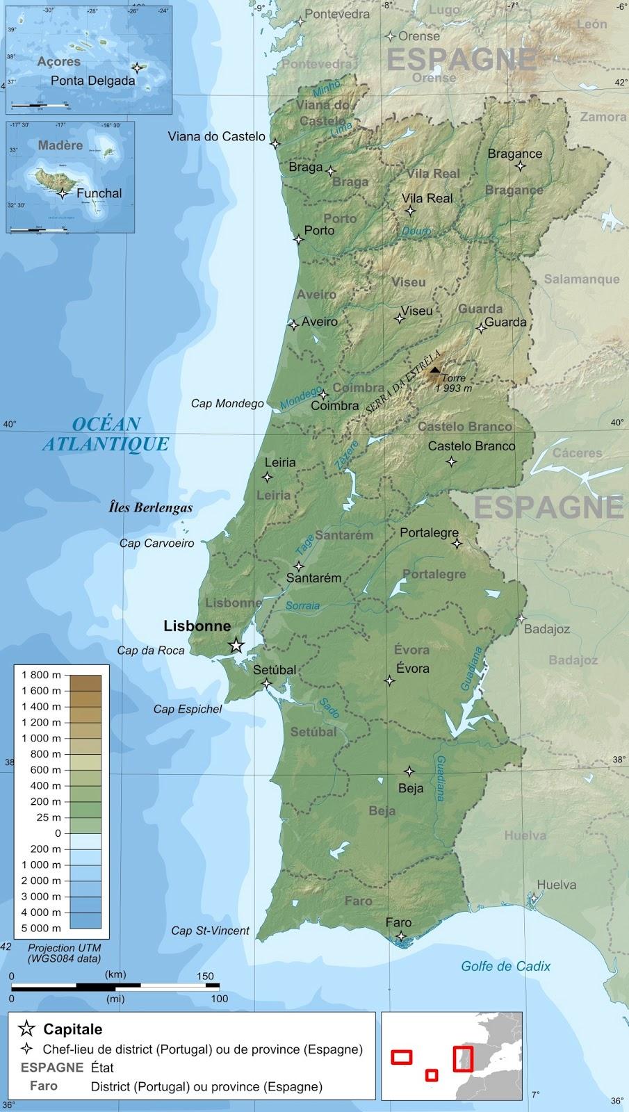 Mapa Físico de Portugal