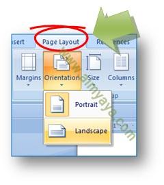 Gambar: Cara merubah orientasi kertas Portrait menjadi Landscape atau sebaliknya, di Microsoft Word 2007