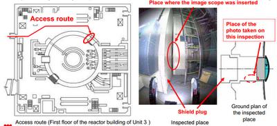 Schema dell'ispezione all'interno del condotto per macchinari del reattore 3
