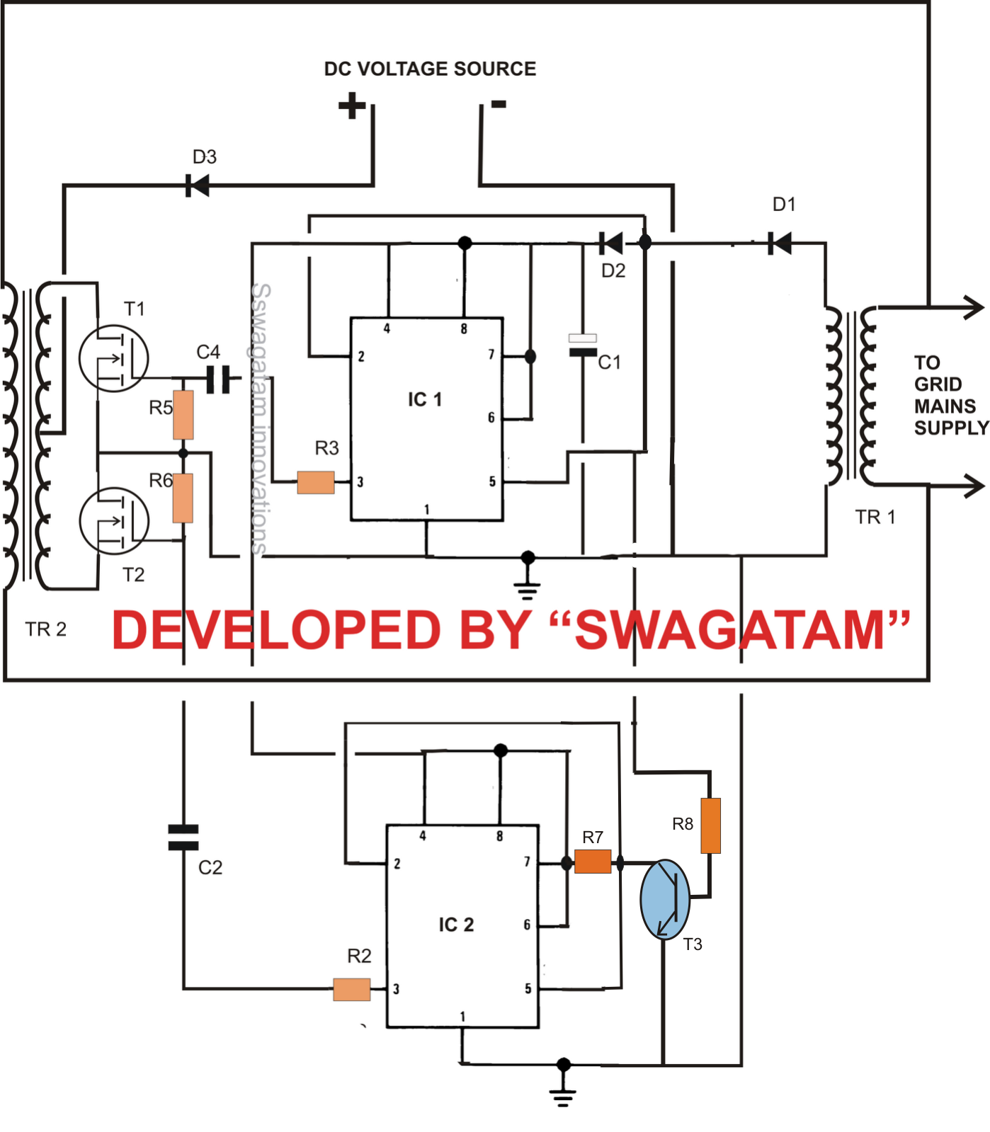 power inverter wiring diagram designing a grid tie inverter circuit electronic circuit projects designing a grid tie inverter circuit