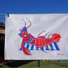Rockabilly Lobster Tea Towel