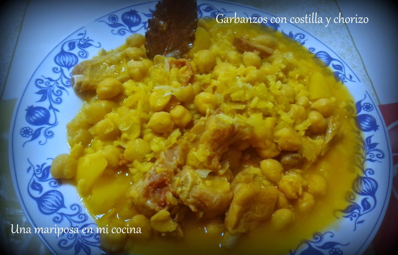 Garbanzos con costilla y chorizo recetas de cocina - Garbanzos con costillas ...