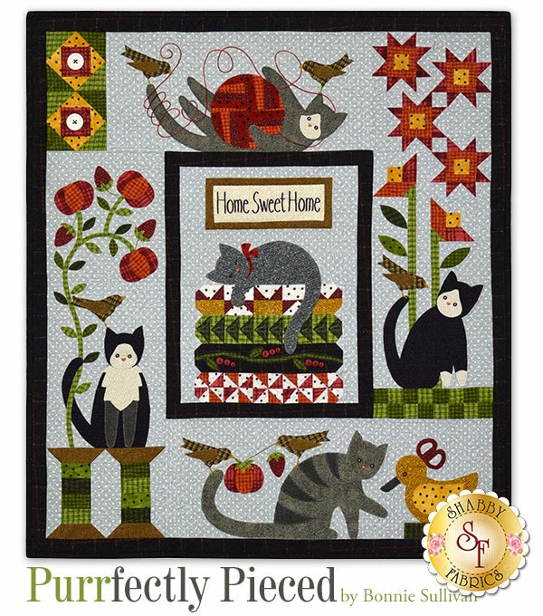 New Quilt Patterns For 2015 : The Shabby A Quilting Blog by Shabby Fabrics: Purrfectly Pieced: A new Block of the Month from ...