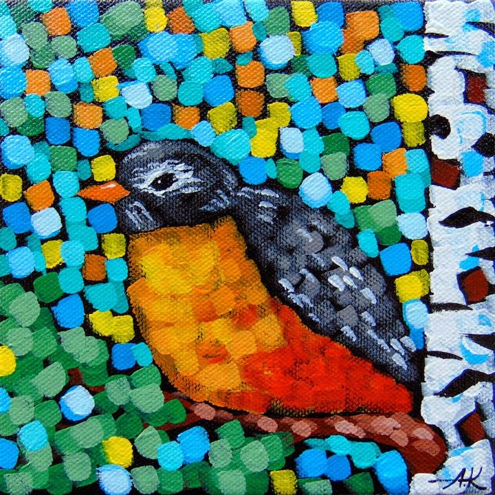 Robin, Sivertson, Aaron Kloss, Birch, Spring, Pointillism, Bird, Minnesota, Landscape