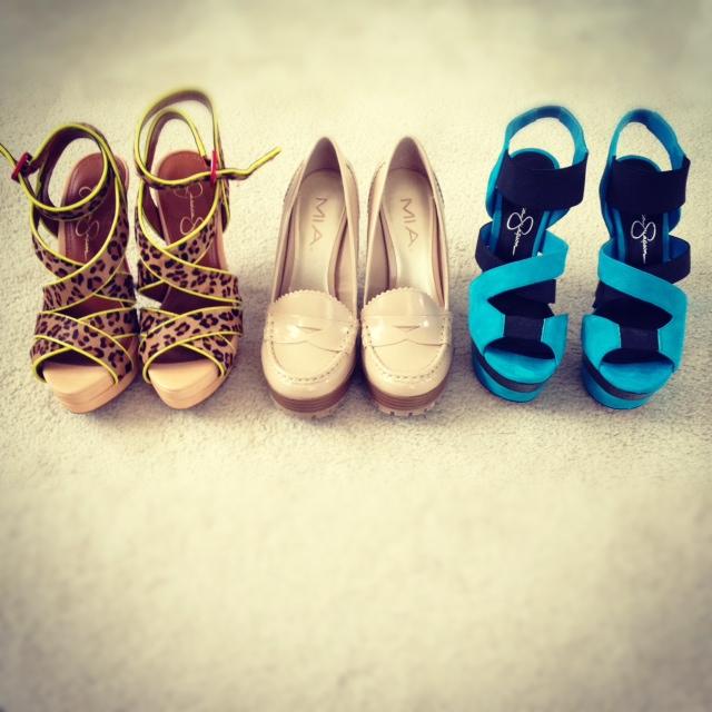 Jessica Simpson Leopard criss cross red heel platform stilettos, MIA oxford nude platform chunky heels, Jessica Simpson blue suede platform Stilettos, fashion, style, shoe love